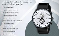 Dial Color: White; Dial Shape: Round Strap Color: Black; Strap Material: PU Leather Model: DK4015CRM02C Warranty Type: Manufacturer Teen Watches, White Watches For Men, Stainless Steel Chain, Chronograph, Pu Leather, Color Black, Shape, Metal, Stuff To Buy