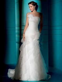 Love this Ruffled Organza wedding gown!   This dress with a Bird-Cage veil is beautiful!