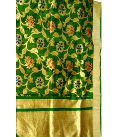 Green Banarasi Dupion Silk Jaal Handloom Saree