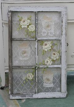 add lace and roses flowers to vintage old salvaged window for shabby cottage style home decor look or for wedding reception decoration for ideas and goods - Window Frame Decor