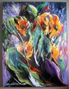 PIPER :: Regal Blossoms (Original) by South Dakota Artist JoAnne Bird.