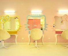 Hello Kitty dressing room with Mimmy,Dear Daniel,and Hello Kitty mirrors Hello Kitty Rooms, Hello Kitty House, Sanrio, Makeup Blog, Pink Love, Decoration, In This World, To My Daughter, Cool Stuff