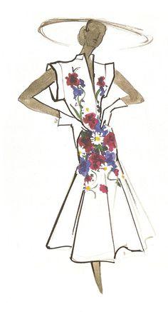 Carven, Croquis Robe à fleurs #fashion illustration