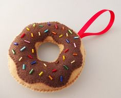 PERSONALIZED - Christmas Donut Ornament - Yummy Chocolate with Sprinkles