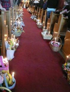 Blessing Easter Baskets in Ukrainian Church of Edmonton, Canada