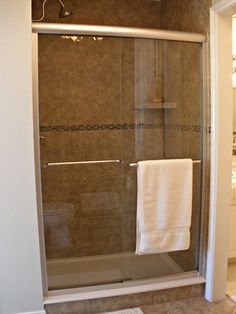 replace fiberglass shower with tiled shower, glass door. This is sort of what I have in mind for the master bath, eventually...