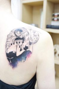 Aries girl tattoo on back shoulder by Banul