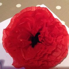 Poppies are big, bold blooms that are bound to put a smile on any face. If it isn& poppy season and you don& have access to the beautiful flowers, create your own out of tissue paper and a few simple craft items. Use your tissue paper. Tissue Paper Crafts, Tissue Paper Flowers, Fabric Flowers, Remembrance Day Activities, Remembrance Day Poppy, Poppy Template, Wizard Of Oz Decor, Poppy Decor, Poppy Wreath
