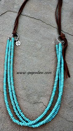 Three Stranded Turquoise Necklace with Brown Leather  www.gugonline.com
