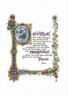 Illuminated Calligraphy Artist Print  People Dreams by angelworx, $35.00