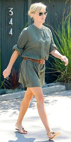 Who made Reese Witherspoon's green dress and sunglasses that she wore in Beverly Hills? Dress – Nili Lotan  Sunglasses – Oliver Peoples