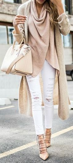 no description but this looks like a mohair duster & a draped top/scarf? Whatev. Love the look and soft earthy pastels.