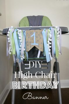 Birthday Highchair Banner & Blue Green Aqua Highchair Banner Blue Green 1st Birthday Boy ...