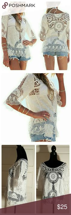 "JUST IN: Crochet Boho Top NWOT Brand new without tags.  Soft to the touch. Crochet boho style top, also could be a beach cover up. OSFM. Chest: 20"". Length: 24"". Sleeve: 12"". Measurements taken laying flat. Fabric: polyester.  Hand wash cold, air dry. Tops"