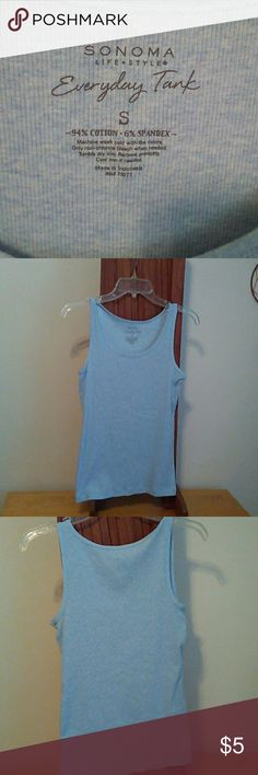 S/ SONOMA Tee Shirt Everyday tank 94% cotton 6% spandex. Very soft blue color. Gentle wear no pilling pulls or damages. Sonoma Tops Tank Tops