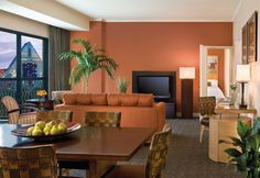 The Grand Suites at the Walt Disney World Swan and Dolphin Hotel surround guests with stylish, comfortable furnishings and décor.