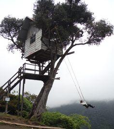 La Casa del Arbol (treehouse swing). Banos, Ecuador