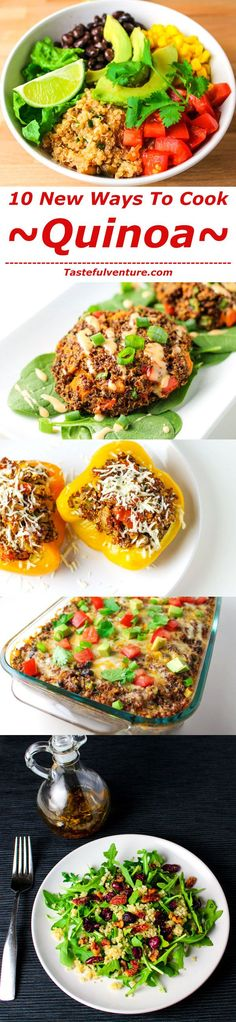 10 New Ways To Make Quinoa! These recipes are all healthy, gluten free, and… - comida mexicana Gluten Free Vegetarian Recipes, Healthy Eating Recipes, Whole Food Recipes, Cooking Recipes, Paleo, Healthy Junk, Healthy Dinners, Healthy Eats, Healthy Foods