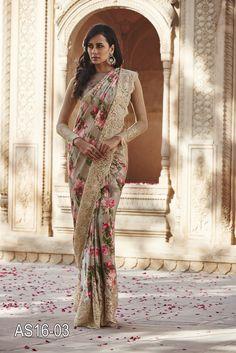 Embroidered Floral Print Satin Saree