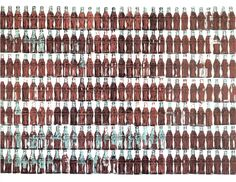 Warhol's subjects were quintessentially American. His 210 Coca-Cola bottles depict mass production for the masses. They are produced in shortly after his silkscreen innovations allowed him to mass produce pictures of mass production. Warhol Paintings, Andy Warhol Pop Art, Coca Cola Bottles, Coke Cans, Oldenburg, Antique Bottles, Arte Pop, Ex Libris, Art Plastique