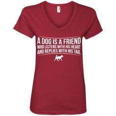 A Dog Is A Friend - Ladies V Neck. #rescue #rescuedog #animal #pets #fashion #shopping #v-neck