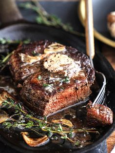 Filet Mignon with Porcini Compound Butter