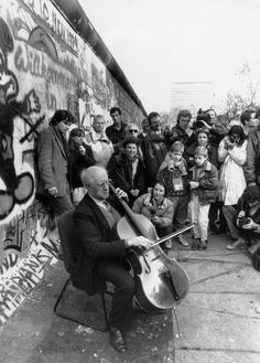 Mstislav Rostropovich playing Bach at the collapse of the Berlin Wall. On top of being one of the greatest cellists who ever lived, he was also one of the greatest people who ever lived. His life's work to improve the health and future of children is continued by his Foundation (linked).