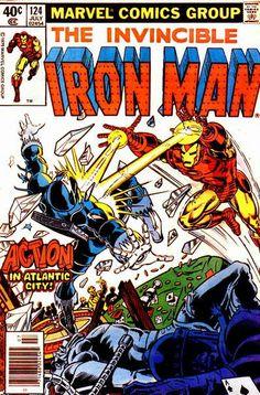 iron man 124 cover by john romita jr n bob layton 1979 Writer: David Michelinie Penciler: John Romita Jr. Inker: Bob Layton and friends Iron Man Comic Books, Marvel Comic Books, Comic Books Art, Comic Art, Book Art, Comic Poster, Tony Stark, Invincible Comic, John Romita Jr