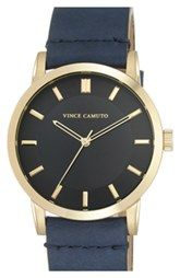Vince Camuto Leather Strap Watch, 42mm