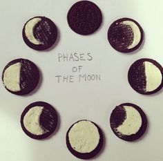 | DANIELLE | A very clever way to demonstrate graphic sequence by using oreos. The imagery of the different phases of the moon is demonstrated by the amount of icing on the oreo. The icing is shaped a certain way as to reflect the shape of the moon. The sequence is set out in a circle as to reflect the shape of a moon but also the cycle of the moons phases.