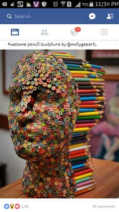 Color Blind: Colorful Pencil Sculpture By Molly Gambardella - Art Attack Street Art, Simple Illustration, Watercolor Illustration, Wow Art, Art Plastique, Pencil Art, Oeuvre D'art, Colored Pencils, Sculpture Art