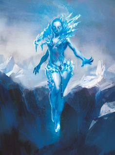 "Ice-Elemental.jpg ""Be warned: the sylph may be a beauty, but see how she never touches the ground yet everything around her freezes. Imagine what her touch would do to a man."""