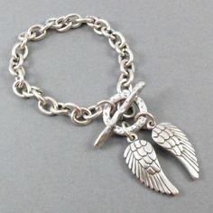 94d83aa26 Danon Jewellery - Silver Single Chain Bracelet with Silver Angel Women's  Earrings, Silver Earrings,