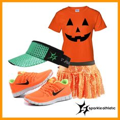 Pumpkin Inspired Running Costume | Running | Race Costume | Disney | Sparkle Athletic | #TeamSparkle | Halloween | Athletic Costume Halloween Running Costumes, Run Disney Costumes, Disney Outfits, Halloween Outfits, Diy Costumes, Halloween Stuff, Costume Ideas, Running Shorts, Running Race