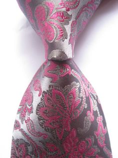100% Silk Floral Gray Rose JACQUARD WOVEN Men's Tie.