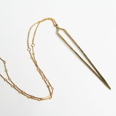 Visibly Interesting: Modern Gold spike necklace by independent jewelry designer Stefanie Sheehan