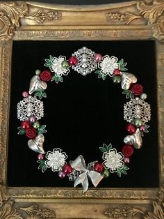 Silver jewelry wreath with red and green pearl berries by Beth Turchi 2016