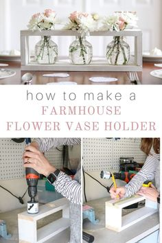 Creative Halloween Costumes - The Best Way To Be Artistic Over A Budget Here Is A Vase Diy With A Farmhouse Feel. Figure out How To Make This White Chalk Paint Wooden Apple Juice Clear Glass Jar Flower Holder. This Easy Project Makes For Great Centerpiece Farmhouse Vases, Farmhouse Style, Farmhouse Lighting, Wooden Flowers, Diy Flowers, Wood Vase, Flower Holder, White Chalk Paint, Glass Jars