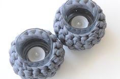 Teelichthalter - Windlicht Textilgarn Kerze Teelichtglas Teelicht - ein Designerstück von Werkart bei DaWanda