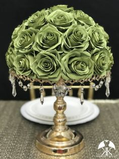 OLIVE GREEN Rose Arrangement. Olive Green Wedding Centerpiece. Floating Pomander. Green Bouquet. Pick Color. Olive Green Centerpiece