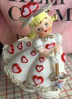 Vintage Relpo Ceramic Valentine Girl Planter Vase Figurine With Spaghetti Trim