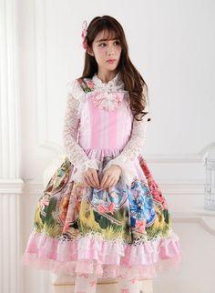 Sleeveless Knee-length Pink Princess Dress with Constellation Sweet Lolita Dress Customize #Lovejoynet