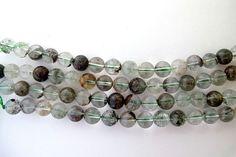 Genuine Lodolite quartz round beads, Green Garden quartz loose beads 10mm by Susiesgem on Etsy