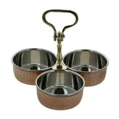 Indian Serveware Pickle Condiment Holder Three Joint Serving Bowls: Amazon.co.uk: Kitchen & Home