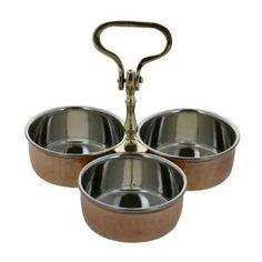 Ensemble de 3 bols en cuivre et Inox sur support - Cuisine: Amazon.fr: Cuisine & Maison