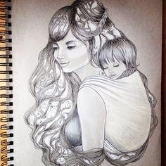 Babywearing Illustration by Chloe Trayhurn - Paintpots & Weasels