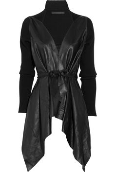 Victoria Beckham Draped Leather Jacket in Black | Lyst