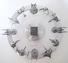 Star Trek Starships Clock - if only I could find the person who makes this! It is from a 2010 post Star Trek Party, Star Trek Gifts, Star Trek Models, Star Trek Merchandise, Star Trek Starships, As Time Goes By, Star Trek Ships, Silver Engagement Rings, Love Stars