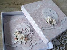 Handmade by Anna Wysocka: Komplet Komunijny z tłoczeniami Wedding Boxes, Wedding Cards, Wedding Invitations, Exploding Boxes, Explosion Box, First Communion, Flower Cards, Cute Cards, Christening