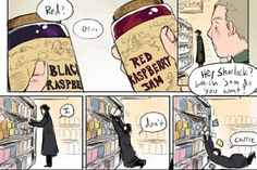This is definitely how Sherlock would act in a grocery store. SO. BORED.